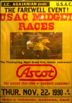 Poster for the final event at Ascot Raceway on Thursday Nov 22 1990.